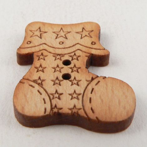 22mm Wooden Christmas Stocking 2 Hole Button