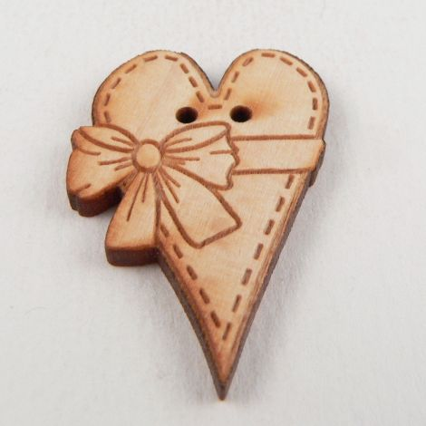 23mm Wooden Heart With Bow 2 Hole Button
