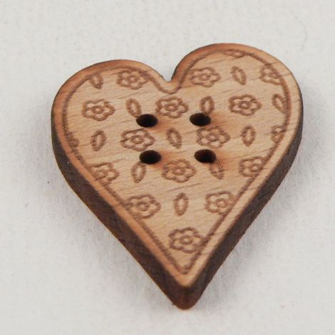 23mm Wooden Floral Heart 4 Hole Button