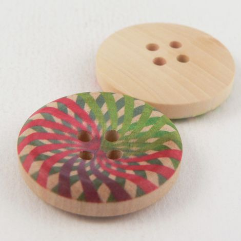 25mm Contemporary Wooden Painted 4 Hole Button