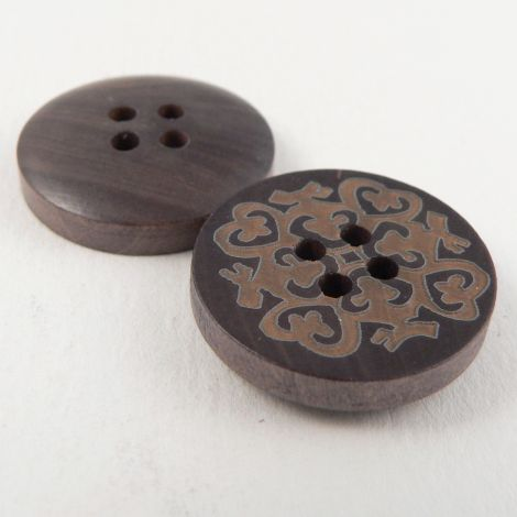 20mm Ethnic Designed Wood 4 Hole Button