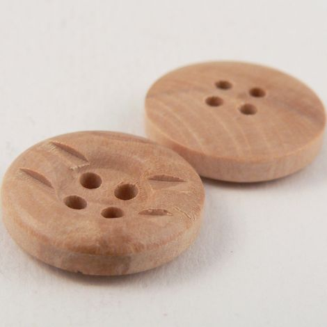 18mm Natural Wood Cut-Out 4 Hole Button