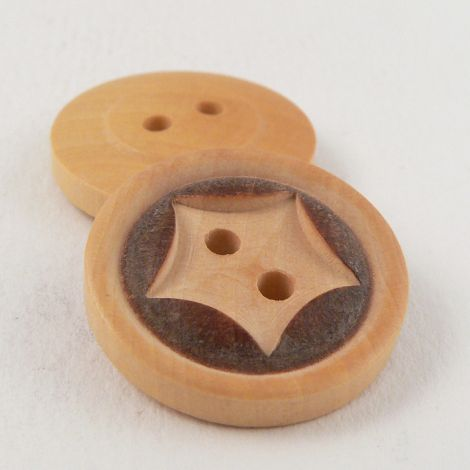 20mm Natural Wood Star 2 Hole Button