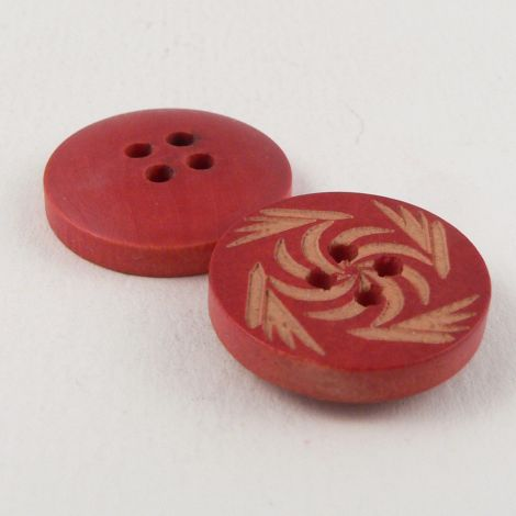 18mm Red & Natural Wood 4 Hole Button
