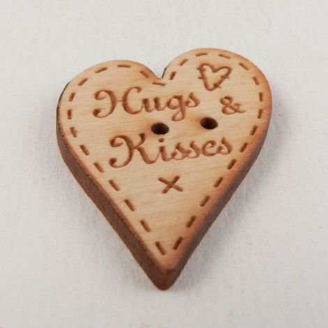 22mm Heart 'Hugs And Kisses' Wood 2 Hole Button