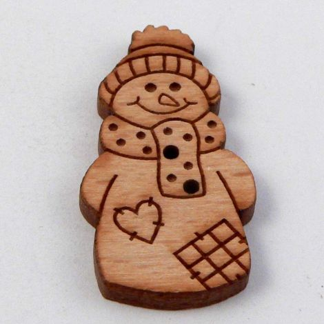 16mm Patchwork Snowman Wood 2 Hole Button
