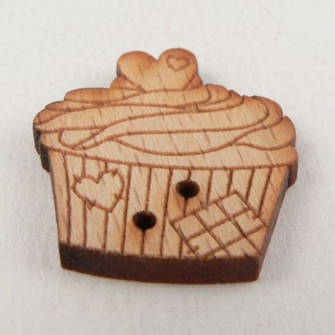 22mm Patchwork Cupcake Wooden 2 Hole Button