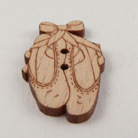 18mm Wooden Ballet Shoes 2 Hole Button