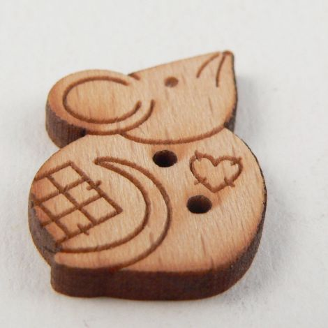16mm Wooden Patchwork Mouse 2 Hole Button