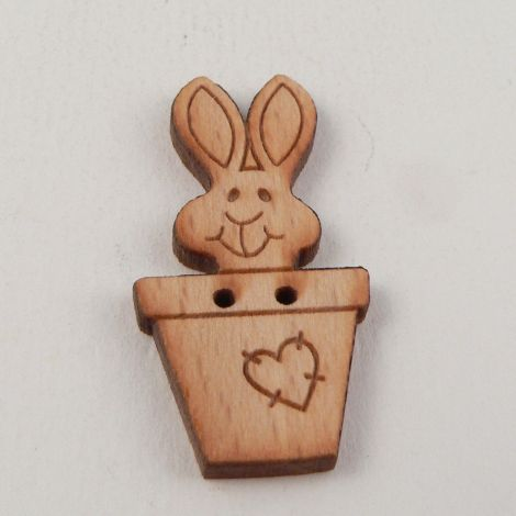 18mm Wooden Rabbit In A Pot 2 Hole Button