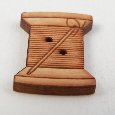16mm Wooden Needle & Cotton 2 Hole Button