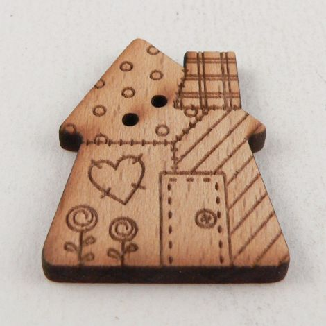 23mm Wooden Patchwork House 2 Hole Button