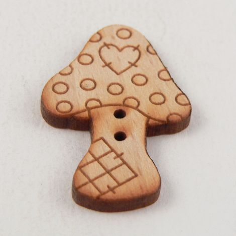 22mm Wooden Patchwork Toadstall 2 Hole Button