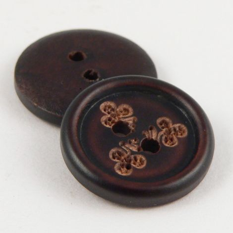15mm Dark Wood Floral 2 Hole Button