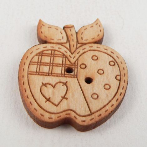 23mm Wooden Patchwork Apple 2 Hole Button