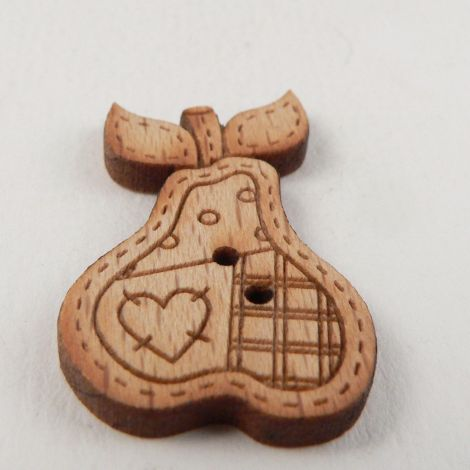 19mm Wooden Patchwork Pear 2 Hole Button