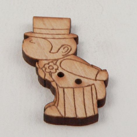 21mm Wooden Kissing Groom 2 Hole Button