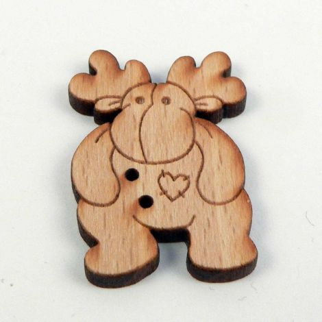 22mm Wooden Patchwork Moose 2 Hole Button