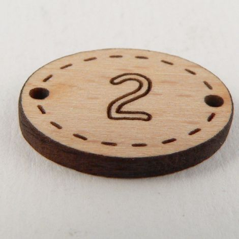 20mm Oval Wooden 2 Hole Number 'Two' Button