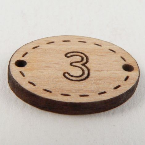 20mm Oval Wooden 2 Hole Number 'Three' Button