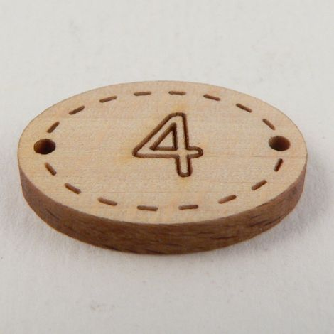 20mm Oval Wooden 2 Hole Number 'Four' Button