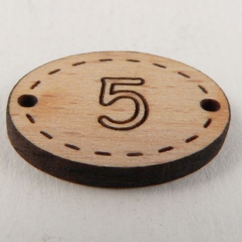 20mm Oval Wooden 2 Hole Number 'Five' Button