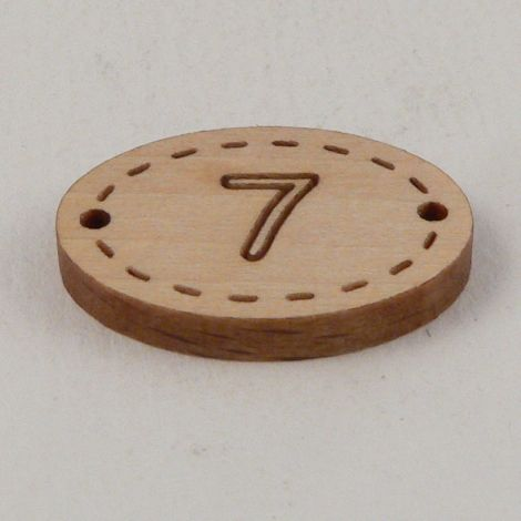 20mm Oval Wooden 2 Hole Number 'Seven' Button