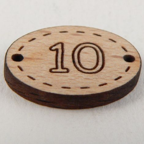 20mm Oval Wooden 2 Hole Number 'Ten' Button