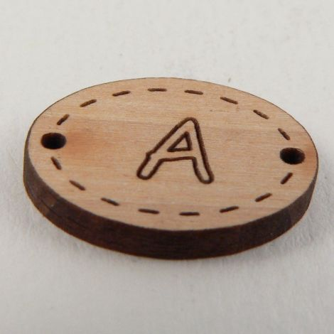 20mm Oval Wooden 2 Hole Letter 'A' Button