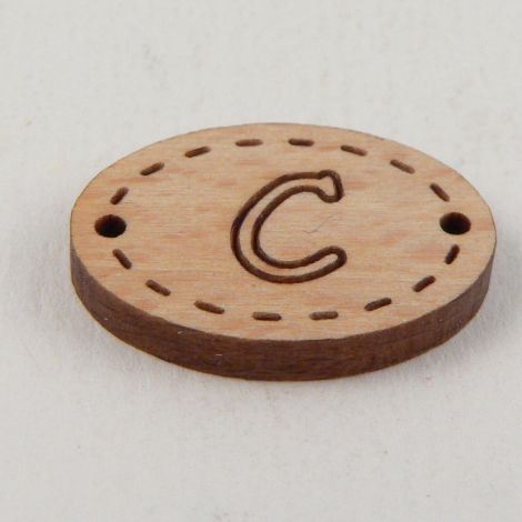 20mm Oval Wooden 2 Hole Letter 'C' Button