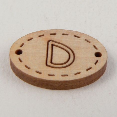 20mm Oval Wooden 2 Hole Letter 'D' Button