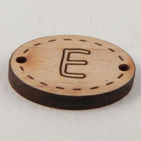 20mm Oval Wooden 2 Hole Letter 'E' Button