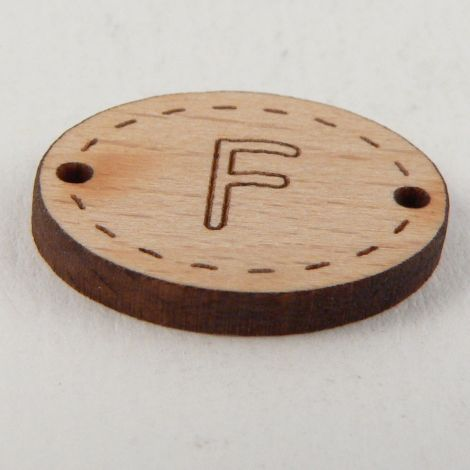 20mm Oval Wooden 2 Hole Letter 'F' Button