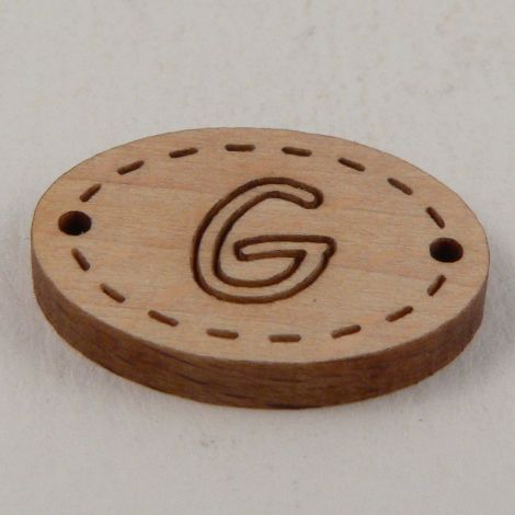 20mm Oval Wooden 2 Hole Letter 'G' Button