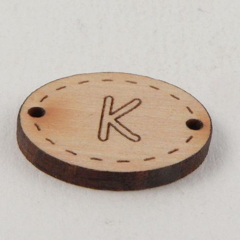 20mm Wooden 2 Hole Oval Letter 'K' Button