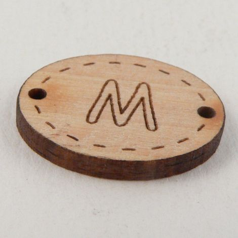 20mm Wooden 2 Hole Oval Letter 'M' Button