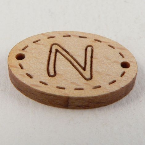 20mm Wooden 2 Hole Oval Letter 'N' Button