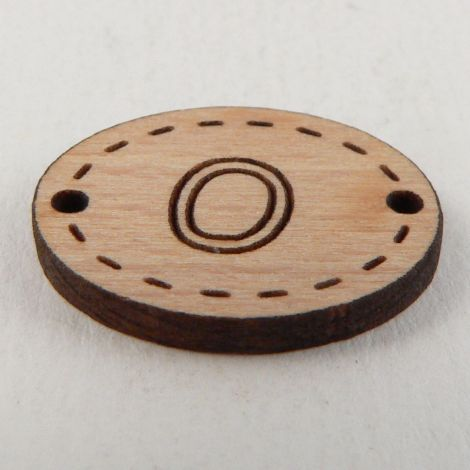 20mm Wooden 2 Hole Oval Letter 'O' Button