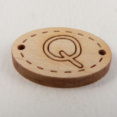 20mm Wooden 2 Hole Oval Letter 'Q' Button