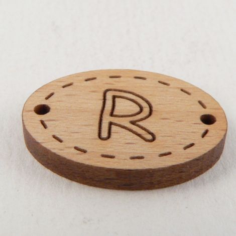 20mm Wooden 2 Hole Oval Letter 'R' Button