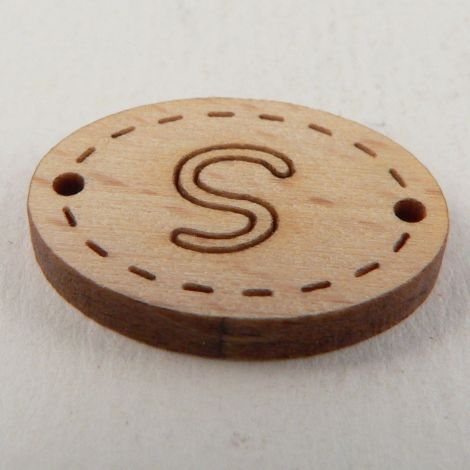 20mm Wooden 2 Hole Oval Letter 'S' Button