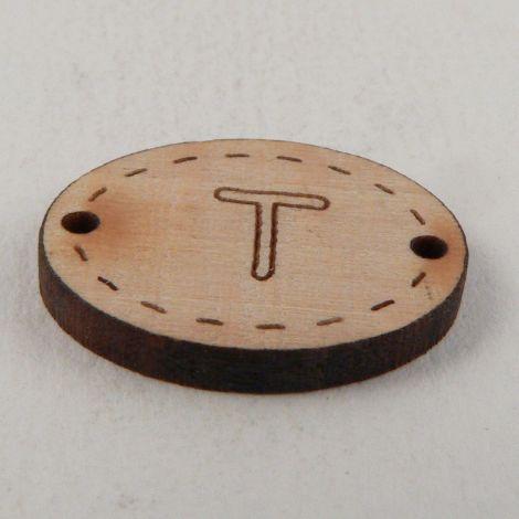 20mm Wooden 2 Hole Oval Letter 'T' Button
