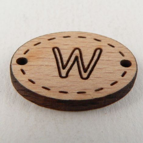 20mm Wooden 2 Hole Oval Letter 'W' Button