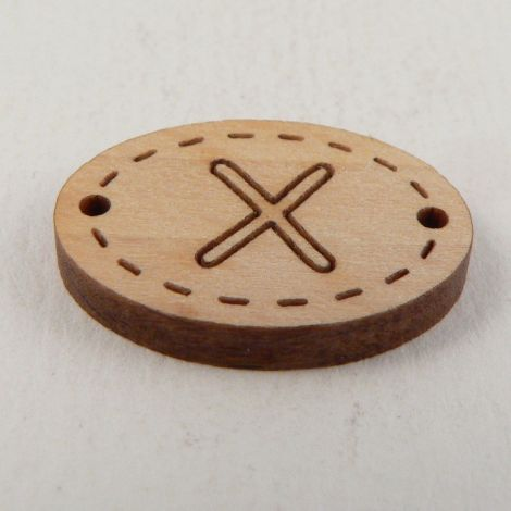 20mm Wooden 2 Hole Oval Letter 'X' Button