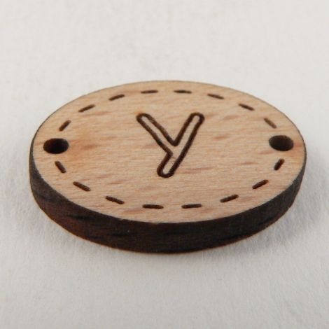 20mm Wooden 2 Hole Oval Letter 'Y' Button