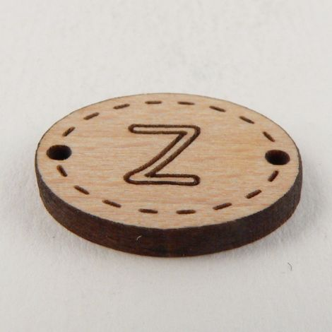 20mm Wooden 2 Hole Oval Letter 'Z' Button