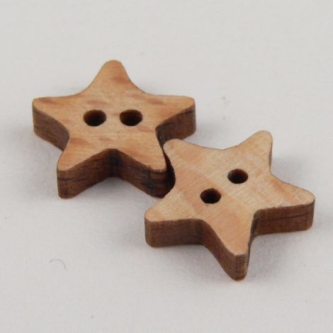 10mm Cute Wood Star 2 Hole Button