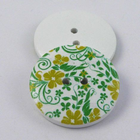 30mm Painted Floral Design Novelty 2 Hole Wood Button