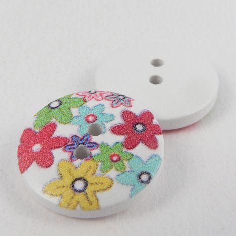 18mm Painted Flower Novelty 2 Hole Wood Button