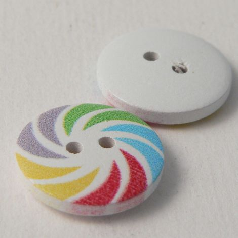 18mm Painted Catherine Wheel  Novelty 2 Hole Wood Button